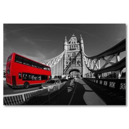 Αφίσα (λεωφορείο, γέφυρα, κόκκινος)